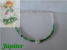 Júpiter Gargantilla de ágatas verdes, con estrella de nácar. http://tienda-mermaidtearsshop.rhcloud.com/es/gargantillas/68-sailor-moon-inspiration.html