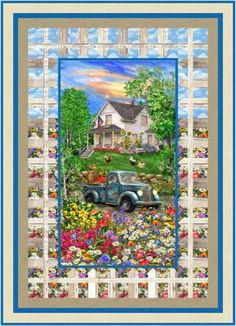 """Be transported to a beautiful summer's day during a simpler time with this panel quilt fenced by a picturesque border. Fabric shown in the sample quilt is Timeless Treasures Sweet Summer Collection.* Finished Size: Lap/Throw 46"""" x 64"""" Skill Level: Advanced Beginner Technique: Pieced Quilt Block Patterns, Pattern Blocks, Quilt Blocks, Panel Quilts, Fabric Panels, Summer Collection, Summer Days, Simple, Sweet"""