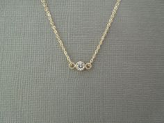 tiny delicate necklace, bezel set cz, small diamond, bridesmaids gift, layering, simple, everyday, small