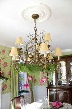 Decorated Chandelier - Holiday Home Tour