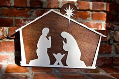 Wooden Nativity Scene - Nativity Silhouette with built on stand