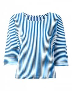 Pleats Please by Issey Miyake Striped 3/4 Sleeve Top