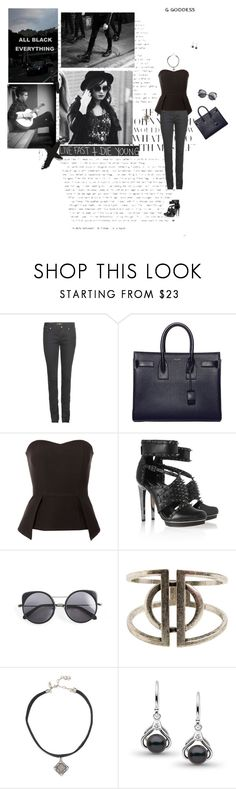 """All black everything"" by amber-daylight ❤ liked on Polyvore featuring Yves Saint Laurent, Jane Norman, BCBGMAXAZRIA, Wood Wood, 7 For All Mankind, Zad and Vanessa Mooney"