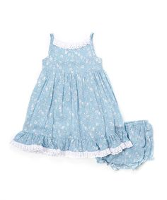 Another great find on #zulily! Blue Floral Spaghetti Strap Dress - Infant, Toddler & Girls #zulilyfinds