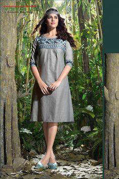 Grey color linen fabric designer kurti  http://www.vardhita.co.uk/product/grey-color-linen-fabric-designer-kurti-34-15/