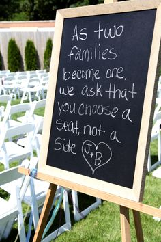 DIY chalkboard sign...I bought a remnant frame from the craft store, poster board and painted it with chalkboard paint!
