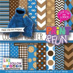 Cookie Monster Patterns Digital Paper clipart clip por Printnfun, €3.00 #digitalpaper #cookiemonster #comegalletas #sesamestreet #festa #party #cookies #invitations #candybar #desserttable #birthdayparty