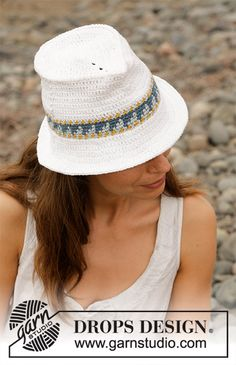 Sweet Fedora by DROPS Design Crocheted hat with edge in multi-colored pattern. Piece is crocheted in DROPS Paris. Crochet Mittens, Free Crochet, Crochet Pattern, Knit Crochet, Crochet Hats, Crochet Design, Crochet Ideas, Drops Design, Drops Paris