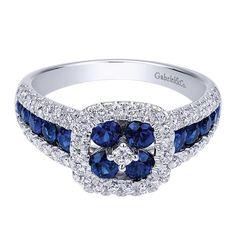 14k White Gold Diamond  And Sapphire Fashion Ladies' Ring   Gabriel & Co NY   LR50345W45SA