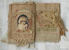 MIXED MEDIA FABRIC COLLAGE BOOK ANGELS DREAMS | eBay