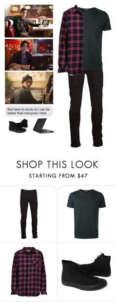 """Jughead Jones"" by mrsstylik1999 ❤ liked on Polyvore featuring Marcelo Burlon, Moncler, Current/Elliott, Converse, Speck, men's fashion and menswear"
