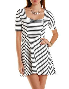Striped & Textured Skater Dress: Charlotte Russe
