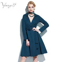 Young17 Vintage 1950 s Robe Patineuse V Cou Tournent Vers Le Bas A Party line Robes Vintage Élégant À Manches Longues Robe avec ceintures