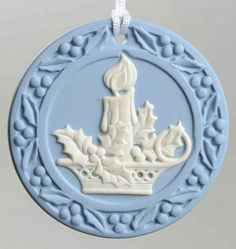 Wedgwood JASPERWARE Christmas ORNAMENT Candle 1994