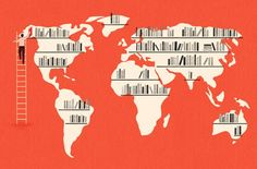 Bookshelves AND maps?! Wish I could have a print of this illustration by Owen Gatley.