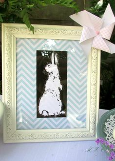 www.memoriesforeverevents.com Chevron bunny Easter Brunch, Chevron, Bunny, Frame, Home Decor, Picture Frame, Cute Bunny, Decoration Home, Room Decor