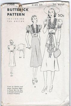 Butterick 7968 1930's Vintage Dress Pattern Bust by GothamPatterns, $25.95