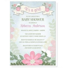"""I wanted to share with you these Rustic Floral Southern Girl Baby Shower Invitations? Do you like them?    Rustic floral Southern country inspired Baby Shower invitations for when you're expecting a girl, featuring a banner and flowers design with """"It's a girl!"""" written on the banner, over a light blue rustic background with watercolor flowers lightly illustrated on the sides, and a floral arrangement at the bottom."""