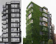Condominio in via Quadronno, 1960, Milano - Vista complessiva nel 2008 e in una foto di repertorio