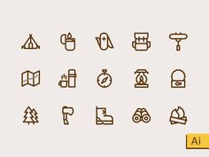 Camping Icons Freebie by Sooodesign