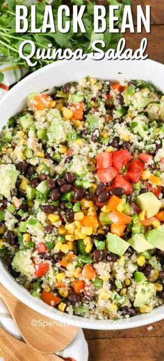 This easy Black Bean Quinoa Salad is deliciously simple, full of fresh veggies all tossed in a zesty lime dressing, this is the perfect easy lunch or dinner. dinner quinoa Black Bean Quinoa Salad - Spend With Pennies Black Bean Salad Recipe, Quinoa Salad Recipes, Vegetarian Recipes, Cooking Recipes, Healthy Recipes, Quinoa Beans Recipe, Simple Quinoa Recipe, Quinoa Recipes Easy, Avocado Recipes