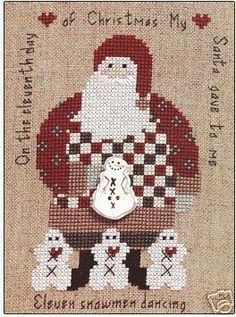Artists Collection Heartstrings The 12 Days of Santa Day 11 Counted cross stitch pattern. Stitch count X Santa Cross Stitch, Cross Stitch Charts, Counted Cross Stitch Patterns, Christmas Crafts Sewing, Christmas Embroidery, Quilt Stitching, Cross Stitching, Noel Christmas, 12 Days