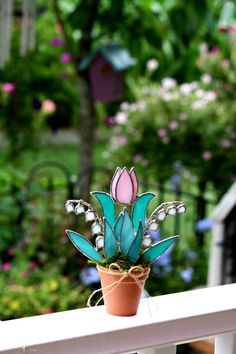 Stained Glass Suncatcher Pink Tulip Pink  Lily of by GalaGardens, $26.50