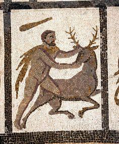 3rd century AD mosaic from Liria, Valencia ~ The Ceryneian Hind (detail)