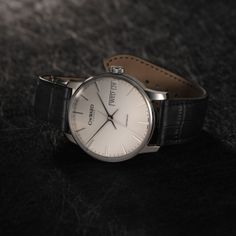 The Harrison Big Day-Date Automatic with black leather strap and Bader deployment from Christopher Ward. Christopher Ward, Swiss Made Watches, Mechanical Watch, Simple Elegance, Watch Brands, Big Day, Watches For Men, Cool Style, Black Leather
