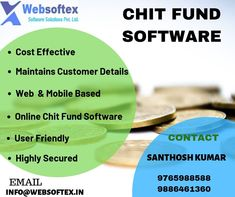 Websoftex Software Solutions Pvt ltd ,Bangalore based company offers you the best chit fund software which is highly secured, maintained and easy to use collections and it comes with both the ERP and CRM. Banking Software, Customer Relationship Management, Online Web, Collections, Easy