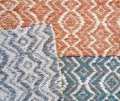 32 New Flooring Products with Remarkable Verve | Amphora wool-cotton rugs in terra-cotta, deep turquoise, and pewter by True North Textiles. #interiordesignmagazine #interiordesign #design #products #flooring #rugs