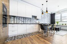 Modern kitchen with wallpaper backsplash Wallpaper Backsplash Kitchen, Quartz Backsplash, Subway Tile Backsplash, Quartz Countertops, Modern Kitchen Design, Kitchen Designs, Kitchen Island Materials, 3d Tiles, Stick On Tiles