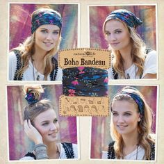 Boho Bandeaus - Our super-versatile boho bandeau looks great in every season. Wrap around your head, neck, wrist or ponytail, or wear it as a fun summer top. It's the perfect boho accessory for girls who love to change up their style! Comes on a card prin Work Hairstyles, Casual Hairstyles, Headband Hairstyles, Hairdos, Boho Accessories, Hair Accessories For Women, Boho Headband, Headbands, Bikini Mode