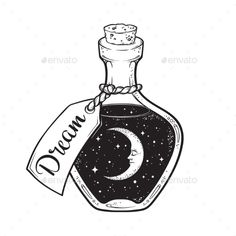 Kaley Lehner Dream in Bottle with Moon and Stars Dream in B Drawing Bottle Dream Kaley Lehner Moon moon Drawing stars Space Drawings, Cool Art Drawings, Pencil Art Drawings, Doodle Drawings, Art Drawings Sketches, Easy Drawings, Ink Illustrations, Tattoo Drawings, Simple Cute Drawings