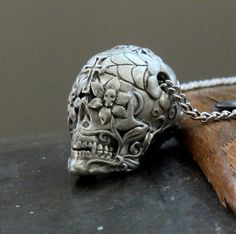 Sugar Skull Necklace in Solid White Bronze -  An Exclusive by mrd74