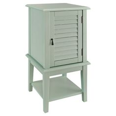 Aqua accent table with a louvered door and interior shelf.   Product: Accent tableConstruction Material: Enginee...