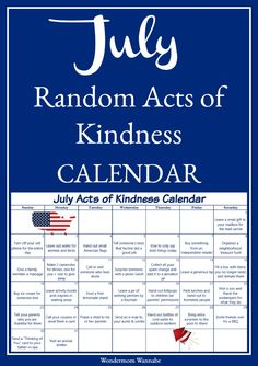 This kindness calendar series is a fun and easy way to spread joy throughout the year. This July acts of kindness calendar has lots of fun ideas inspired by July holidays and themes. via Wondermom Wannabe