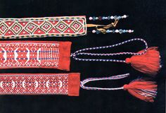 In the eastern parts of Sabme, beadwork is also done. In this image, the two woven sashes are Northern Saami from Enontekiö (Eanodat) in Finland, and the beaded one is Skolt Saami.