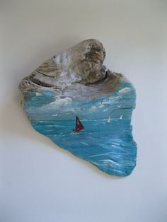 Painted Driftwood Wind Surfer Sail Boarder by gardenstones on Etsy