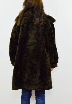 Vintage 80s dark brown faux fur coat | boho kimono | ASOS Marketplace