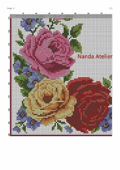 Cross Stitch Flowers, Cross Stitch Patterns, Rose Bouquet, Ribbon Embroidery, Bed Spreads, Diy And Crafts, Tapestry, Sewing, Needlepoint