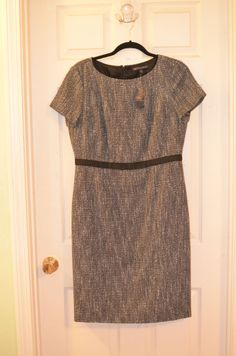 Brooks Brothers Ladies Tweed and Black Bow Dress-Size 12-Brand New with Tags #BrooksBrothers #Shift #Cocktail