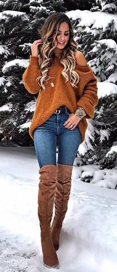 #winter #outfits brown cold-shoulder sweater #casualdresses