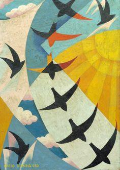 """igormaglica: """"  Giulio D'Anna (1908-1978), Volo di rondini / Flight of Swallows, 1930. oil on canvas, 46 x 32 cm """""""