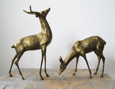 vintage large brass deer figurines by RustBeltThreads on Etsy