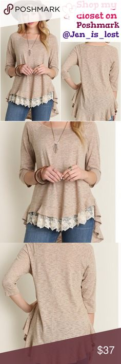 Lace Tunic Small Pair this beauty with leggings or distressed jeans and out the door you go.  Lace detail with ruffle bottom tunic. 65% cotton 35% polyester. Tops Tunics