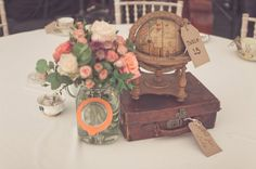 travel inspired centerpieces