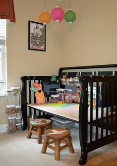 Practical storage for your supplies in the craft room - 28 Inspirational Ways How to Repurpose Old Baby's Cribs