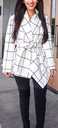New Season Outfit🔔 You Must Have!!!🔜Plaid Rabato Wrap Jacket Casual Coats For Women, Sweaters For Women, New Chic Shoes, New Chic Bras, Mode Mantel, Faux Fur Hooded Coat, Leopard Print Coat, Plaid Fashion, Winter Fashion