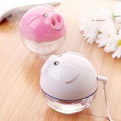 Cute Mini Pig-shaped USB Humidifier Air Purifier Aroma Essential Oil Diffuser